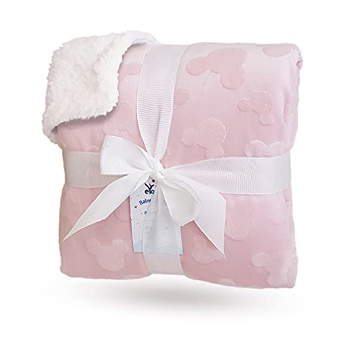 eYone Large Receiving Sherpa Baby Blanket Double Layer Fleece for Nursery Cot and Pram (Pink, 80x110cm)