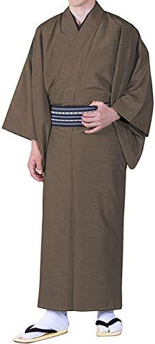 KYOETSU Herren Kimono Tsumugi Awase waschbar gefüttert - Braun - Small