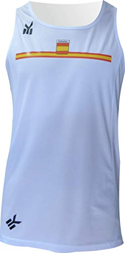 EKEKO SPORT Camiseta ESPAÑA Tirantes, para Running Color Blanco (M)