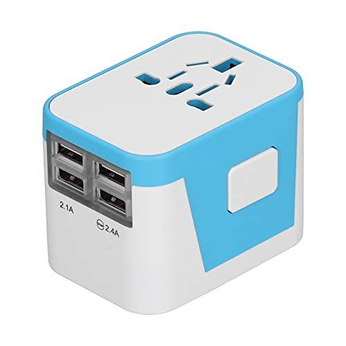Adaptador de Corriente para Viajes Internacionales Kit Convertidor de Corriente Universal con 4 Puertos USB, Adaptador de Enchufe Todo en Uno para Reino Unido UE EE UUJP - Más de 220 Países(Azul)