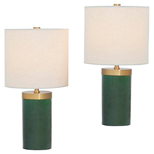 Loraine Modern Emerald Green Cylinder Mini Table Lamps - Set of 2