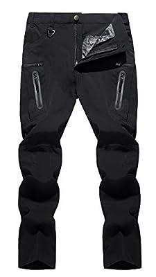 TACVASEN Men's Hiking Pants Quick-Dry Water-Resistant Reinforced Knees Pants Black, 34