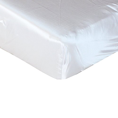White Cloud Satin Fitted Crib Sheet - Fits Standard Crib Mattresses and Daybeds