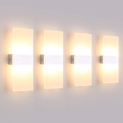 Klighten 4er LED Wandleuchte Innen 12W Wandlampe Acryl Wandbeleuchtung Modern für Wohnzimmer Schlafzimmer Treppenhaus Flur Warmweiß 3000K