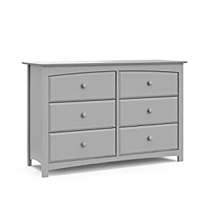 Storkcraft Kenton 6 Drawer Universal Dresser | Wood and Composite Construction, Ideal for Nursery, Toddlers or Kids Room | Pebble Gray