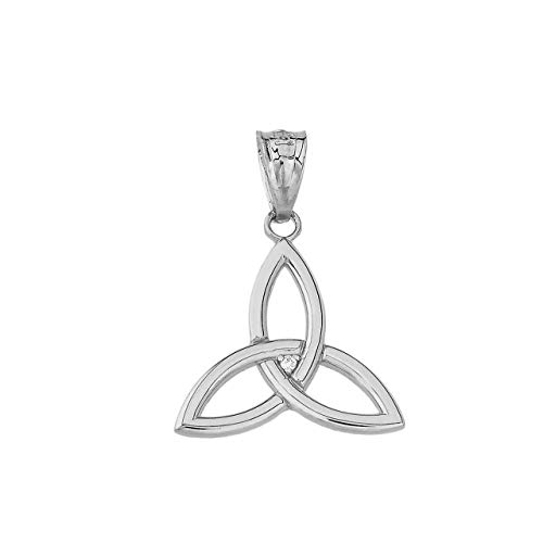 Certified 10k White Gold Solitaire Diamond Celtic Trinity Knot Charm Pendant