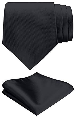 Fanucci 8 cm schwarz satin seide Krawatte mit Einstecktuch