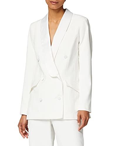 Marca Amazon - Truth & Fable Chaqueta Larga de Vestir Mujer, Blanco (Ivory), 38, Label: S