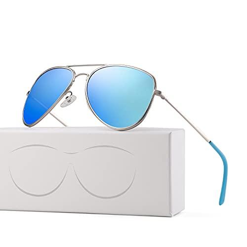 Dakecy Gafas de Sol Unisex para Adultos Gafas de Sol polarizadas de diseñador Piloto polarizado Protección UV Unisex Sombras para Mujer Bisagras de Resorte de aleación Al-MG Premium (Color : Blue)