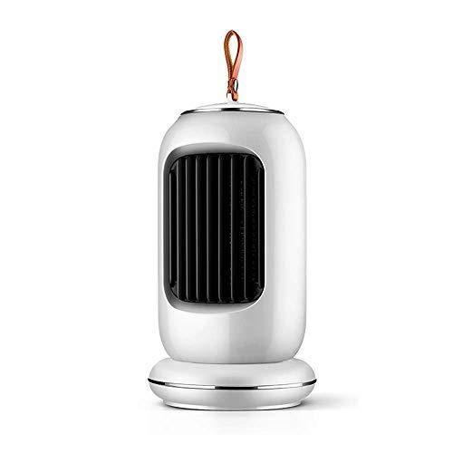 Calefactor Eléctrico,Portable Ventilador Calefactor Espacio Cerámica Calefactor Eléctrico Con Modos De Calentamiento De 900W Para Casa Oficina-Blanco 15x15x27cm
