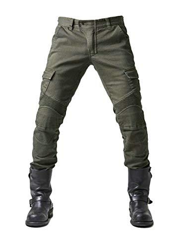 YuanDian Herren Slim Fit Motorrad Jeans Mit Protektoren Knie und Hüftprotektoren Stretch Slim Fit Denim Motorradhose Anti-Fall Straight Fit Cargo Motorradjeans Schutzhose Grün 37W / 34L