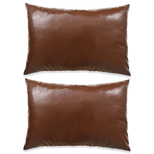 Zora Walter Cojín Juego de 2Unidades. PU 40x 60cm marrón Cojín bezugen Juego de–wohnzimme sofá cojín Pillows Set