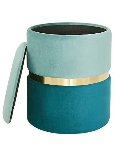 Reposapiés Sofá con Tapa Taburete Redondo Caja de Almacenamiento Baúl Puff Otomana Tapizado Asiento Moderno para Salón y Dormitorio Tocador de Dorada Metallo y Terciopelo (Verde)