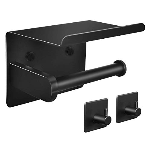 Tindbea Toilet Paper Holder with Shelf + Towel Robe Hooks, Adhesive or Screw Wall Mounted Toilet Paper Roll Holder, Stainless Steel Bathroom Hardware Set (Matte Black)