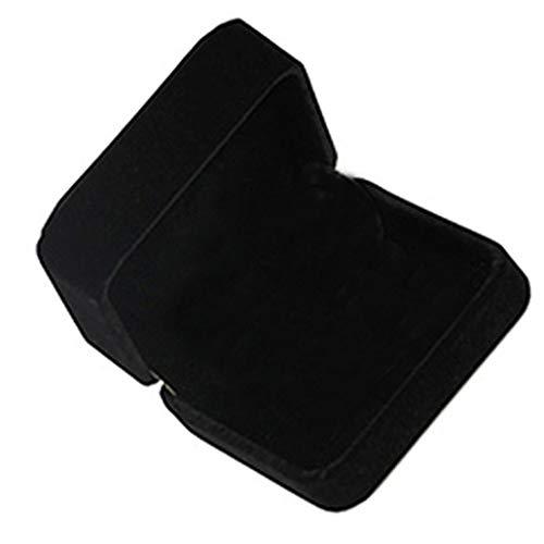 collectsound Schwarzer Samt-Schmuckkasten für Ringe, Uhren, Halsketten, Armbänder, Armreifen, Anhänger, Schmuckschatulle, Geschenkbox