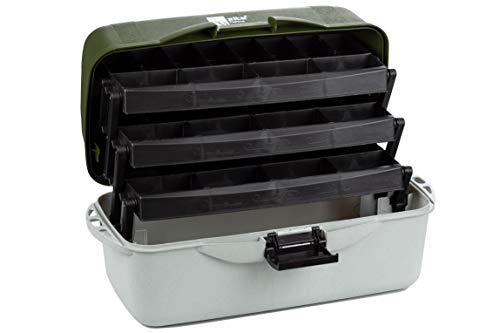 Zite Fishing Angelkoffer Groß - Gerätekoffer mit 3 Laden - Gerätekasten & Angelbox für Angelzubehör 50x25x25cm