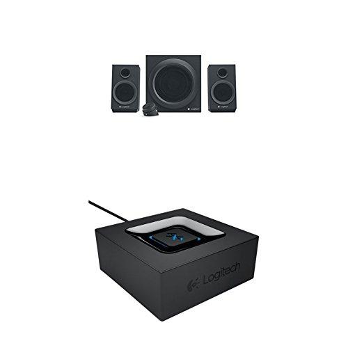 Logitech Z333 Multimedia Speakers - Lautsprecher für Home Entertainment schwarz + Logitech Bluetooth Audio Adapter schwarz
