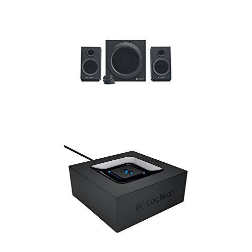Logitech Z333 Multimedia Speakers - Lautsprecher für Home Entertainment schwarz + Logitech Bluetooth Audio Adapter schwarz