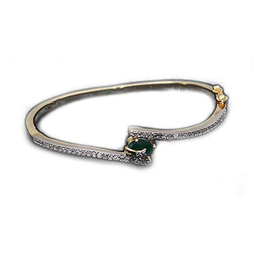 JewelryOnClick Indian Handmade Green Onyx CZ Bracelets for Womens 14K Gold Plated Bangles for Girls Hand Jewellery Fashionable Traditional Jewelry Gifts