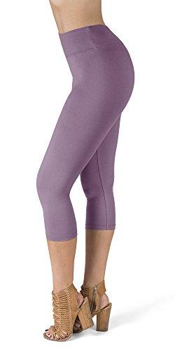 SATINA High Waisted Super Soft Capri Leggings - 20 Colors - Reg & Plus Size (One Size, Lavender)