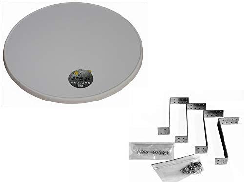 Sevelit Tischplatte, 85 cm rund wetterfest mit Kunststoffkante inkl. Montagehalterung für 200l Stahlfass, Ölfass, Holzfass zum BAU eines Party-Stehtisches (Weiß)