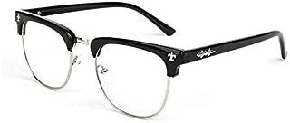 Unisex Retro Half Frame Eyewear Eyeglasses Round Optical Fashion Clear Lens