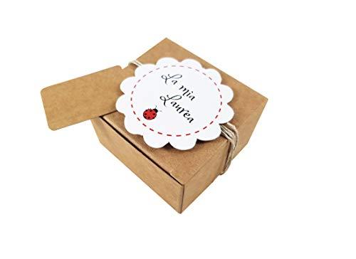 IRPot 20 X Scatolina Portaconfetti Avana PUDP22+20 etichette fiore (grafiche assortite) (Laurea)