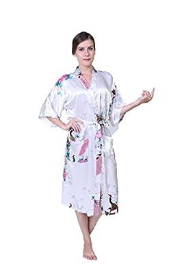 DeLuoKe Long Style Woman Peacock Printed Kimono Robe Wedding Satin Silk Kimono Robe Sleepwear