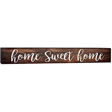 Home Sweet Home Script Design Brown 4 x 24 Inch Solid Pine Wood Barnhouse Block Sign