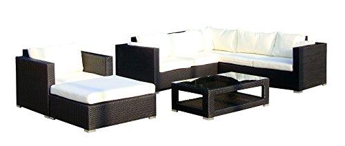 baidani 10c00020.00001 Sunset Salon de Jardin Design avec canapé d'angle, 1 Fauteuil, 1 Tabouret, 1 Table Basse avec Plateau en Verre Noir