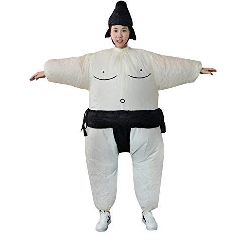 Ventilador Inflable Sumo Vestido Novedad Hombre gordo y mujer Suite Traje gordo enmascarado Disfraz Disfraz Luchador Disfraz (blanco y negro) ESjasnyfall