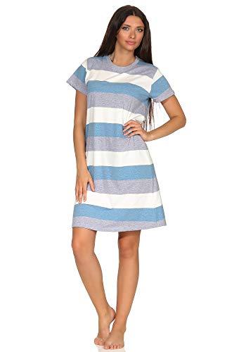 NORMANN-Wäschefabrik Damen Nachthemd Kurzarm mit Block Streifen - Querstreifen - auch in Übergrössen bis 60/62, Farbe:blau, Größe2:56/58