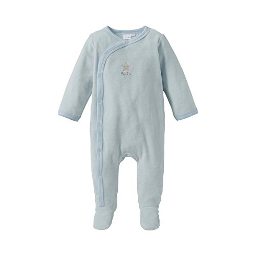 Bornino Basics Nicki-Schlafoverall Stern - Baby-Overall in Nicki-Qualität für entspannten Schlaf - seitliche Druckknopfleiste von Hals bis Fuß