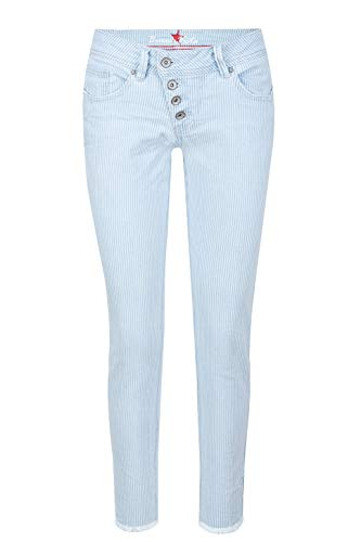 Buena Vista Damen Jeans Malibu 7/8 Stretch Twill Weiss/blau - L