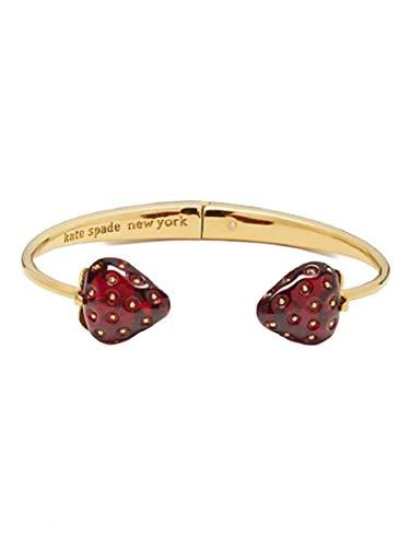 Kate Spade New York Strawberry Bangle Bracelet Hinged Gold Tone