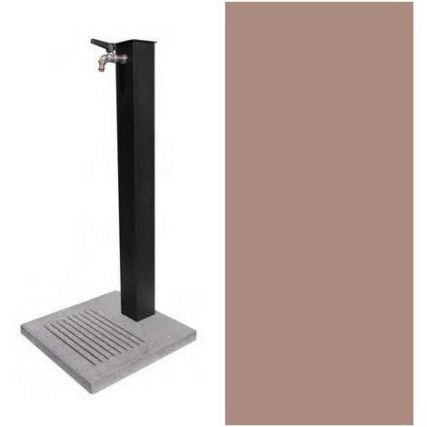 BEL-FER Fontana in Metallo da Giardino Completa di Base in Cemento con Fessure per Scarico a Perdere, Modello 42/QBM Colore Tortora