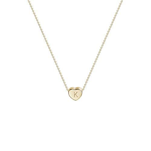 Hunpta - Collar con inicial con letra de corazón para mujer, personalizable, con inicial pequeña, diseño de letras del alfabeto