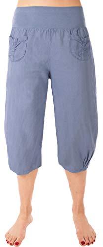 Fashion You WANT dames grote maten linnen broek 7/8 capribroek 100% linnen oversized maat 34/36 tot maat 50/52 met knoopapplicaties shorts korte broek lichte zomerbroek