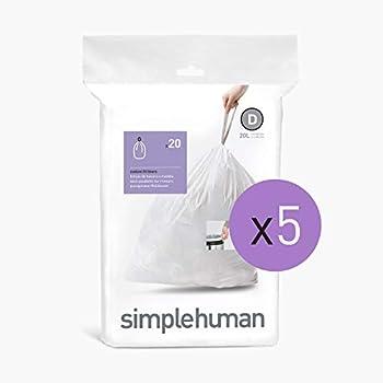 100-Count Simplehuman Code D Custom Fit Drawstring Trash Bags