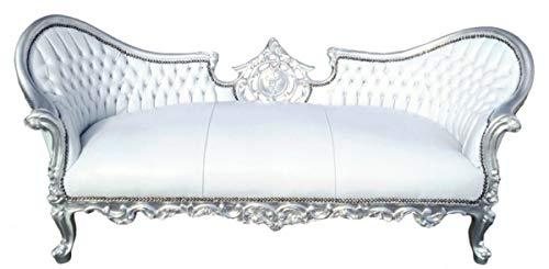 Casa Padrino Barock Sofa Vampire Weiß/Silber 200 x 75 x H. 82 cm - Handgefertigte Lounge Couch mit...