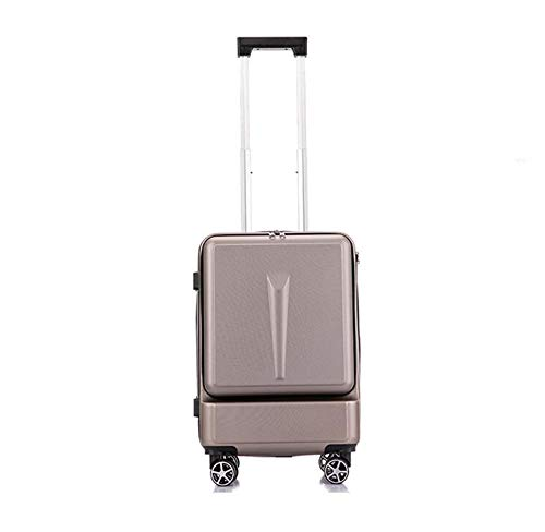 ADDG Creative Trolley Suitcase Rolling Luggage Spinner On Wheel Business Cabin Travel Luggage With Laptop Bag,Brown,20 inches