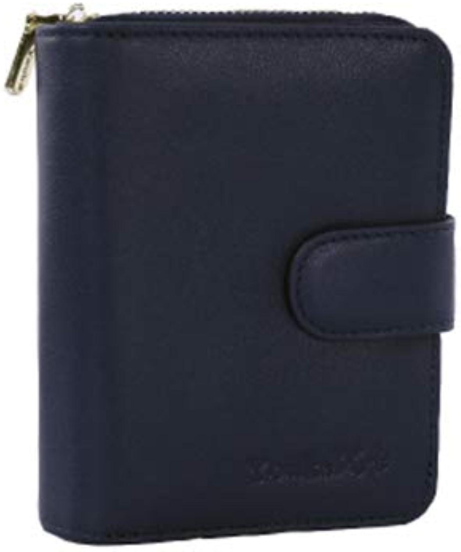 Block Luxury Full Grain Leather BiFold Wallet MultiCard Bag Storage Bag Ladies