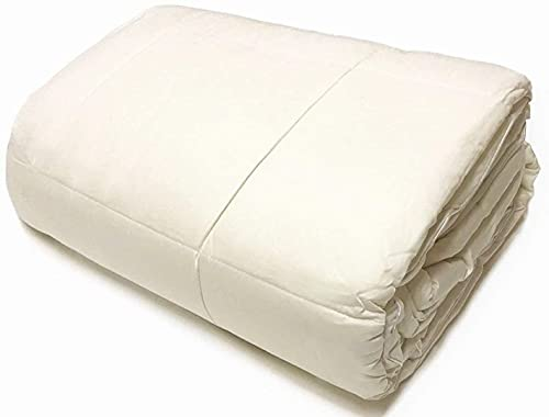 OrganicTextiles Natural Australian Wool Filled Bed Comforter (King Size, Heavyweight), with 100% Organic Cotton Covering, 350 Thread Count, 400 GSM Fill, Temperature Regulation, Skin Sensitive, Machine Washable