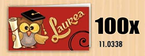100 PZ Bigliettini bigliettino bomboniera LAUREA con gufo gufetto tocco e pergamena
