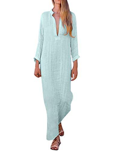 Minetom Mujer Vestido Largo Bohemio Ropa de Playa Vacaciones Vintage Sólida V-Cuello Manga Larga Fiesta Maxi Vestidos Lino Boho Sundress B Azul ES 36