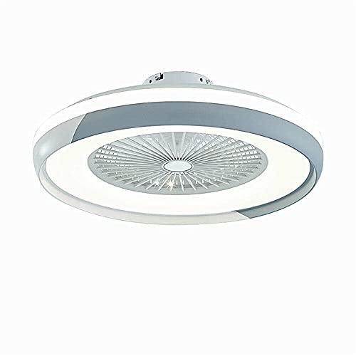 Ventilador de techo LED con lámpara, moderno, invisible, lámpara de techo, con iluminación, para comedor, dormitorio, salón, LED, regulable, lámpara de techo con mando a distancia (blanco gris)