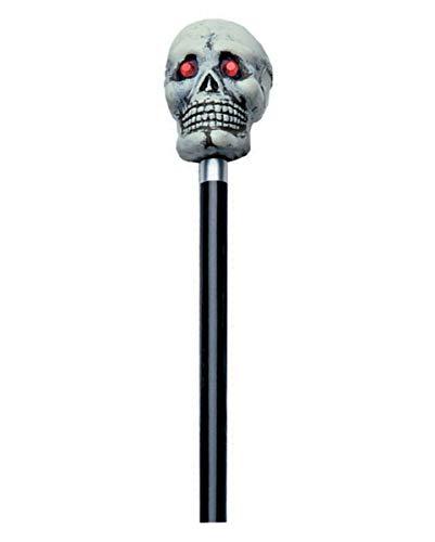 Horror-Shop Bâton de Marche avec Le crâne Gris
