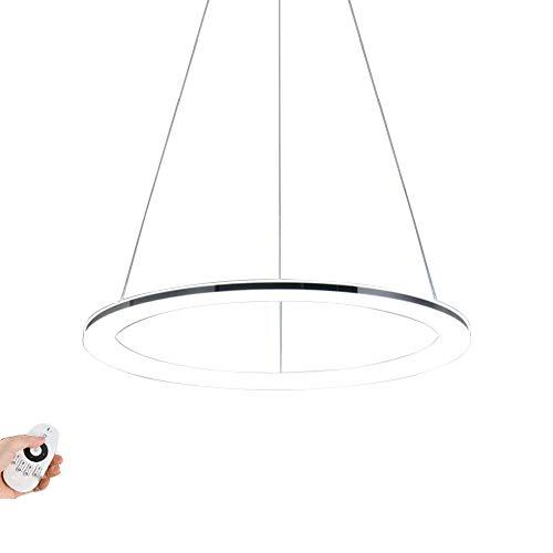 Modern LED Ring-Pendelleuchte Dimmbar Design Edelstahl Pendellampe mit Fernbedienung Hängeleuchte Decken Lampe Höhenverstellbar für Wohnzimmer Schlafzimmer Esszimmer Büro Chrom,φ40CM 28W