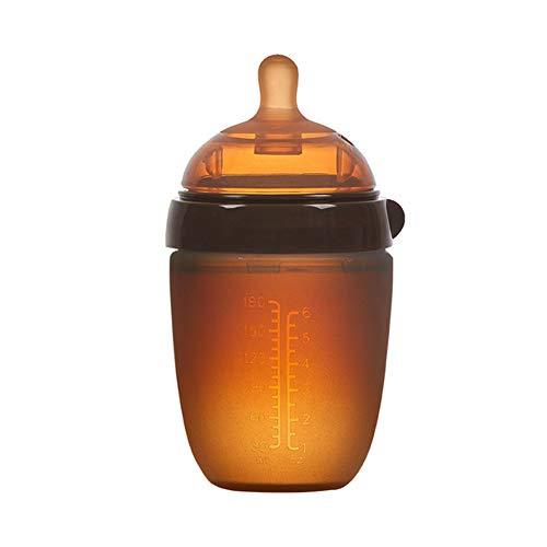 JSIHENA Babyflasche mit brustähnlichem Silikon-Trinksauger Lebensmittelqualität Silikonflasche Baby Großes Kaliber Nachahmung Brust Milch Schnuller Anti-Blähung,withouthandle,180ML