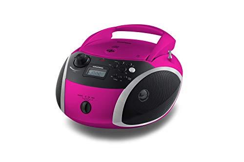 Grundig GRB 3000 BT Tragbare Radio Boombox mit Bluetooth Pink/Silber